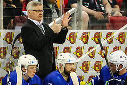 Kari Saovolainen, head coach of Slovenia during Ice Hockey match between National Teams of Hungary and Slovenia in Round #3 of 2018 IIHF Ice Hockey World Championship Division I Group A, on April 25, 2018 in Arena Laszla Pappa, Budapest, Hungary. Photo by David Balogh / Sportida