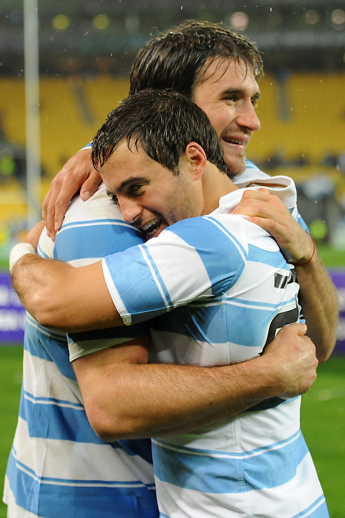 Marcello Bosch and Juan Jose Imhoff celebrate following their victory in the Pool B, Argentina v Scotland match at the IRB Rugby World Cup 2011. Wellington Regional Stadium, Wellington. Sunday 25 September 2011...Photo: Mark Tantrum/photosport.co.nz..