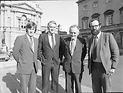 1983-11-83.11th Octoer 1983.11-10-1983.10-11-83..Photographed at Seanad Éireann..Shine on:..Four members of Seanad Éireann enjoy the rare rays of an October sun outside the Upper House of the Oireachtas in Dublin..