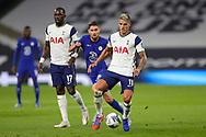 Tottenham Hotspur midfielder Erik Lamela (11) holds off Chelsea midfielder Jorginho (5) during the EFL Cup Fourth Round match between Tottenham Hotspur and Chelsea at Tottenham Hotspur Stadium, London, United Kingdom on 29 September 2020.
