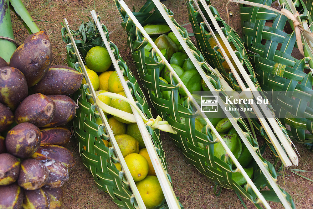 Hand bags made of palm tree leaves carrying produce, Yap Island, Federated States of Micronesia