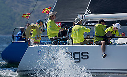 Sailing - SCOTLAND  - 25th-28th May 2018<br /> <br /> The Scottish Series 2018, organised by the  Clyde Cruising Club, <br /> <br /> First days racing on Loch Fyne.<br /> <br /> GBR8543R, Jings, Robin Young, CCC, J109<br /> <br /> Credit : Marc Turner<br /> <br /> <br /> Event is supported by Helly Hansen, Luddon, Silvers Marine, Tunnocks, Hempel and Argyll & Bute Council along with Bowmore, The Botanist and The Botanist