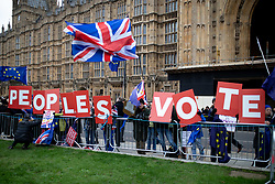 © Licensed to London News Pictures. 10/12/2018. London, UK. Anti-Brexit demonstrators protest alongside Pro-Brexit demonstrators outside the Houses of Parliament. Tomorrow MPs will vote on British Prime Minister Theresa May's EU withdrawal deal. Photo credit : Tom Nicholson/LNP