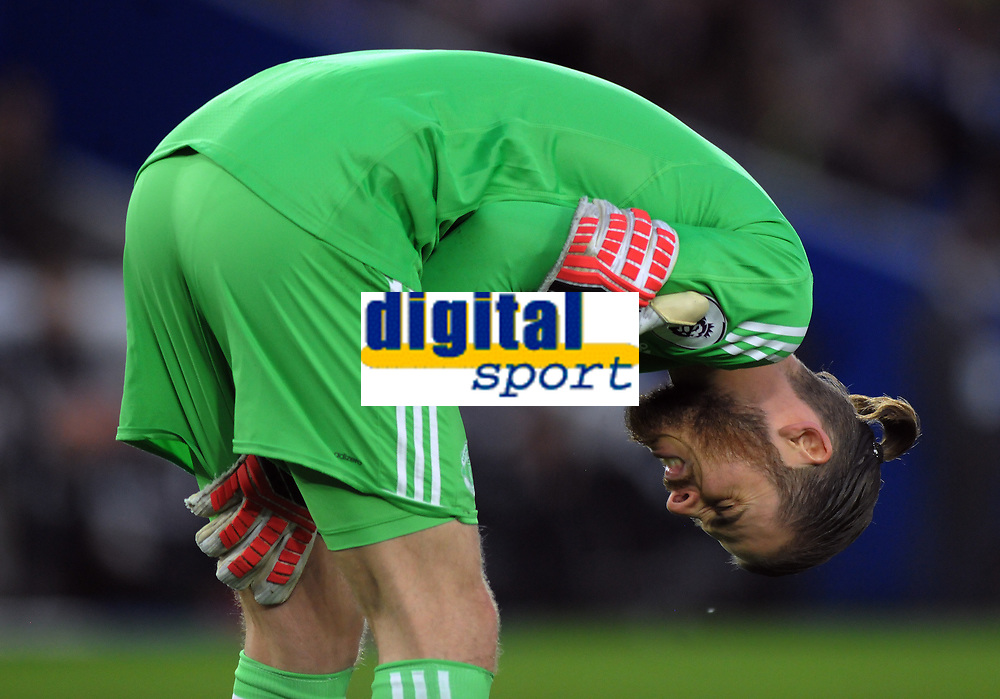 Football - 2017 / 2018 Premier League - Brighton & Hove Albion vs. Manchester United<br /> <br /> David De Gea of Man Utd feels the pain as he holds his shoulder after slipping on the grass, at The Amex.<br /> <br /> COLORSPORT/ANDREW COWIE