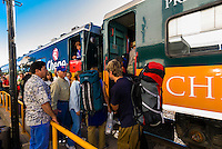 Travelers boarding the Chihuahua al Pacifico Railroad (Chepe) heading to the Copper Canyon at El Fuerte, Mexico