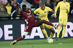METZ, Sept. 9, 2017  Kylian Mbappe (R) of Paris Saint Germain competes with Moussa Niakhate of Metz during their match of French Ligue 1 2017-2018 season 5th round in Metz, France on Sept. 8, 2017. Paris Saint Germain won 5-1. (Credit Image: © Jack Chan/Chine Nouvelle/Xinhua via ZUMA Wire)