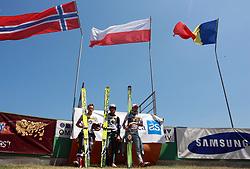 Second Stefan Hula of Austria, winner Maciej Kot of Poland and third Primoz Pikl of Slovenia at FIS Continental cup Ski-jumping Summer Kranj, on July 6, 2008, Kranj, Slovenia. (Photo by Vid Ponikvar / Sportal Images)<br /> <br /> / Sportida)