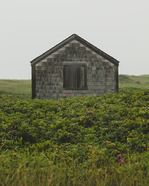 A shingle clad beach shack sitting along the sandy dunes of Nantucket's Southern coast.