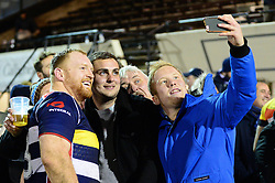 Alex Giltrow of Bristol Rugby takes a selfie with Bristol Rugby fans - Mandatory by-line: Dougie Allward/JMP - 30/12/2017 - RUGBY - The Athletic Ground - Richmond, England - Richmond v Bristol Rugby - Greene King IPA Championship