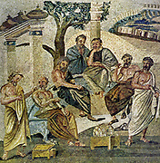 Roman mosaic showing Plato seated (2nd from left) amongst students and other philosophers.