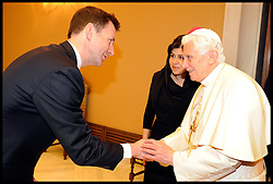 Secretary of State Culture for Media and Sport Jeremy Hunt meets the Pope inside the Vatican. Sayeeda Warsi has brought the largest British delegation to the Vatican, Wednesday February 15, 2012. Photo by Andrew Parsons/ I-images.BYLINE MUST READ ANDREW PARSONS/i-Images