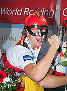 Amsterdam. NETHERLANDS.  GER W4X Gold Medalist: Bow. Annekatrin THIELE, Carina BAER, Julia<br /> LIER and Lisa SCHMIDLA, Gold  Medalist.  Bosbaan Rowing Course. 2014 World Rowing Champions . 14:31:31  Saturday  DATE}  [Mandatory Credit; Peter Spurrier/Intersport-images]