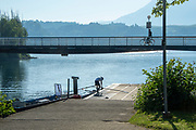 """Lucerne, SWITZERLAND, 12th July 2018, Friday  View,  Seeclub """"Luzern"""", Boating pontoon with Single suller preparing to boat, """"Lake Lucerne',  Photographer, Karon PHILLIPS,"""