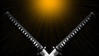 Twin V Katana Sword Gold Rising Sun