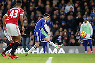 Oscar of Chelsea takes a shot at  goal. Barclays Premier league match, Chelsea v Manchester Utd at Stamford Bridge in London on Sunday 7th February 2016.<br /> pic by John Patrick Fletcher, Andrew Orchard sports photography.