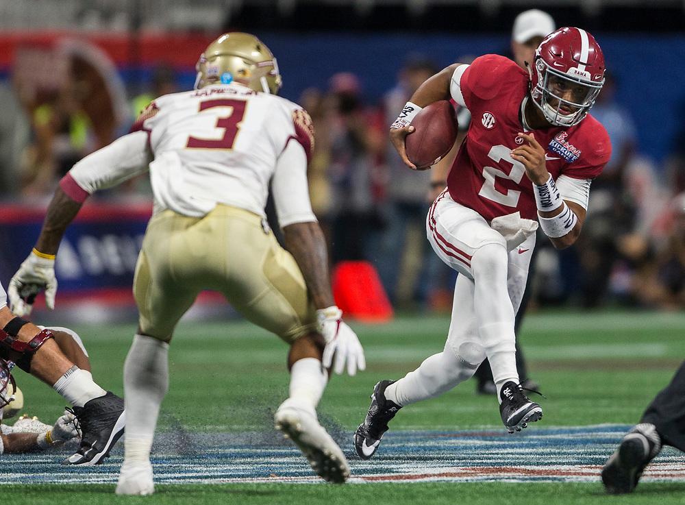 Alabama Crimson Tide quarterback Jalen Hurts (2) during the Chick-fil-A Kickoff NCAA football game on Saturday, September 2, 2017, in Atlanta. (Jason Parkhurst via Abell Images for Chick-fil-A Kickoff Game)