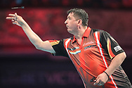 Mensur Suljovic during the BetVictor World Matchplay Darts 2018 sem final at Winter Gardens, Blackpool, United Kingdom on 28 July 2018. Picture by Shane Healey.