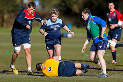 Bristol Rugby Academy players join in during an England U20 session at Bristol Rugby's training facility ahead of the U20 Six Nations match versus Wales - Mandatory byline: Rogan Thomson/JMP - 08/03/2016 - RUGBY UNION - Clifton Rugby Club - Bristol, England - England Under 20s Training at Bristol Rugby.
