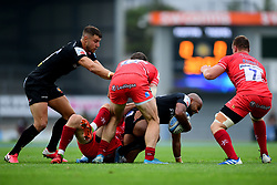 Olly Woodburn of Exeter Chiefs is tackled by Matt Scott of Leicester Tigers and Jaco Taute of Leicester Tigers - Mandatory by-line: Ryan Hiscott/JMP - 15/08/2020 - RUGBY - Sandy Park - Exeter, England - Exeter Chiefs v Leicester Tigers - Gallagher Premiership Rugby