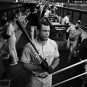 Giancarlo Stanton, Miami Marlins, preparing to bat during the New York Mets Vs Miami Marlins MLB regular season baseball game at Citi Field, Queens, New York. USA. 18th April 2015. Photo Tim Clayton