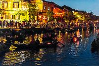 Boats on the Thu Bon River, Hoi An Full Moon Lantern Festival, Hoi An, Vietnam.
