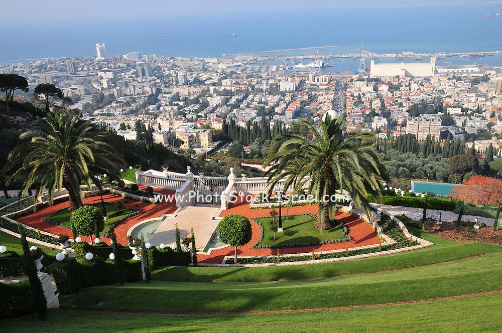 Israel, Haifa, The gardens of the Bahai Shrine downtown Haifa in the background
