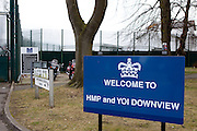 The sign at the entrance to HMP Downview