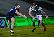 Sale Sharks centre Rohan Janse van Rensburg throws a ball inside during the European Champions Cup match Sale Sharks -V- Edinburgh Rugby at The AJ Bell Stadium, Greater Manchester,England United Kingdom, Saturday, December 19, 2020. (Steve Flynn/Image of Sport)