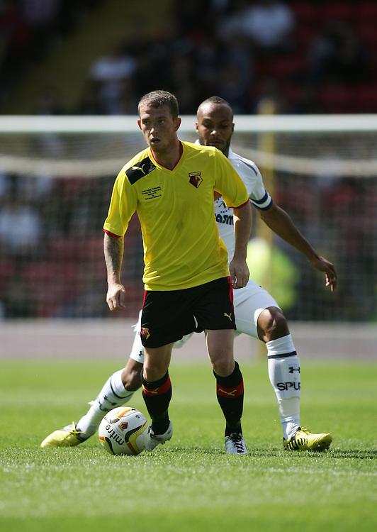 Watford's Joe Garner in action during todays match  ..Football Friendly - Watford v Tottenham Hotspur - Sunday 5th August 2012 - Vicarage Road - Watford..