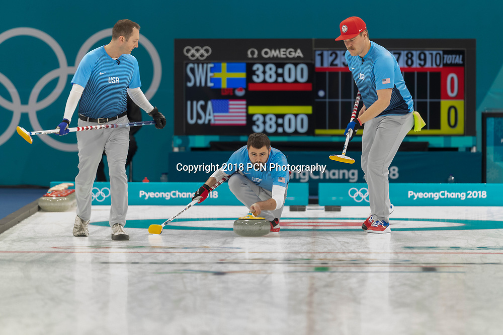 Team USA vs Team Sweden competing in the Curling Gold Medal Game at the Olympic Winter Games PyeongChang 2018