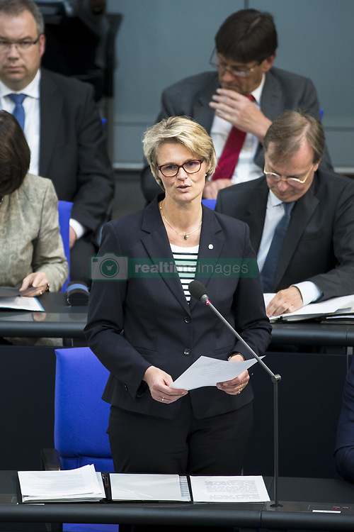 April 18, 2018 - Berlin, Germany - German Minister for Education and Research Anja Karliczek (C) speaks during the 25. Plenary session in Bundestag in Berlin, Germany on April 18. 2018. (Credit Image: © Emmanuele Contini/NurPhoto via ZUMA Press)