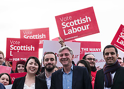 Rutherglen, Scotland, United Kingdom. 19 November, 2017. Scottish Labour Party MSPs, MPs and activists celebrate with their new Leader, Richard Leonard at Fernhill Community Centre in Rutherglen. Richard Leonard beat fellow MSP Anas Anwar for the Leadership. Seen here from left with  Monica Lennon and Anas Anwar.