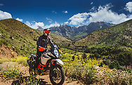 Matt and his KTM 1290 Adventure during our tour of the Ojai backcountry led by Deon de Wet of Ojai Moto Club. Topa Topa Mountain in the background.