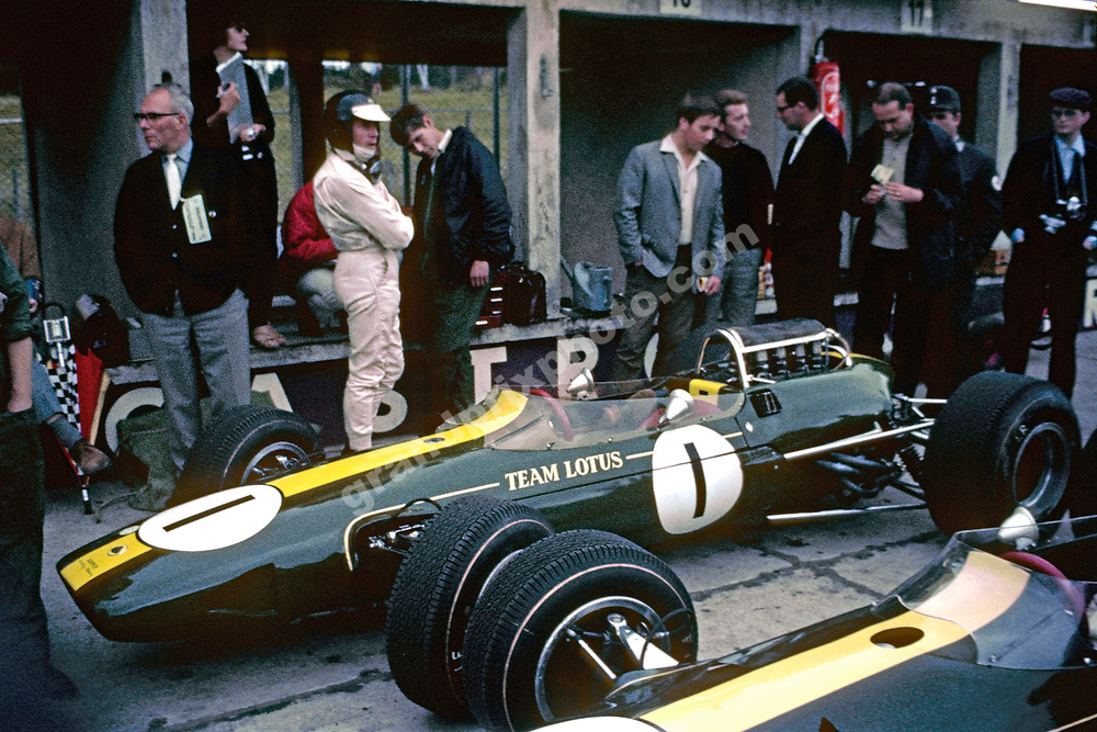 Jim Clark in the Lotus-Climax pits before the 1965 German Grand Prix at the Nurburgring. Photo: Grand Prix Photo