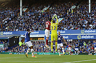 Alvaro Negredo of Middlesbrough jumps with Everton Goalkeeper Maarten Stekelenburg and wins the header  leading to an own goal scored by Everton Goalkeeper Maarten Stekelenburg for Middlesbrough's 1st goal.Premier league match, Everton v Middlesbrough at Goodison Park in Liverpool, Merseyside on Saturday 17th September 2016.<br /> pic by Chris Stading, Andrew Orchard sports photography.