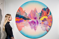 "© Licensed to London News Pictures. 15/01/2019. LONDON, UK. A staff member views ""Earth intruders"", 2018, by Kate Shaw at the Cube gallery stand.  Preview of London Art Fair 2019 at the Business Design Centre in Islington.  The annual fair showcases exceptional modern and contemporary art from the 20th century to present day and opens 16 to 20 January.  Photo credit: Stephen Chung/LNP"