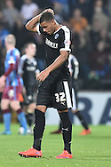 Reece Wabara of Barnsley FC scratches head at end of match during the Sky Bet League 1 match between Scunthorpe United and Barnsley at Glanford Park, Scunthorpe, England on 31 October 2015. Photo by Ian Lyall.