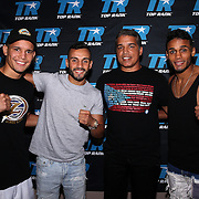 Orlando Gonzalez, Christopher Diaz, Ricky Marquez and Jonathan Irizarry during weigh ins for the Top Rank boxing event at Osceola Heritage Park in Kissimmee, Florida on September 21, 2016.