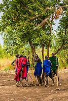 Mursi tribe boys and men, Mago National Park, Omo Valley, Ethiopia.