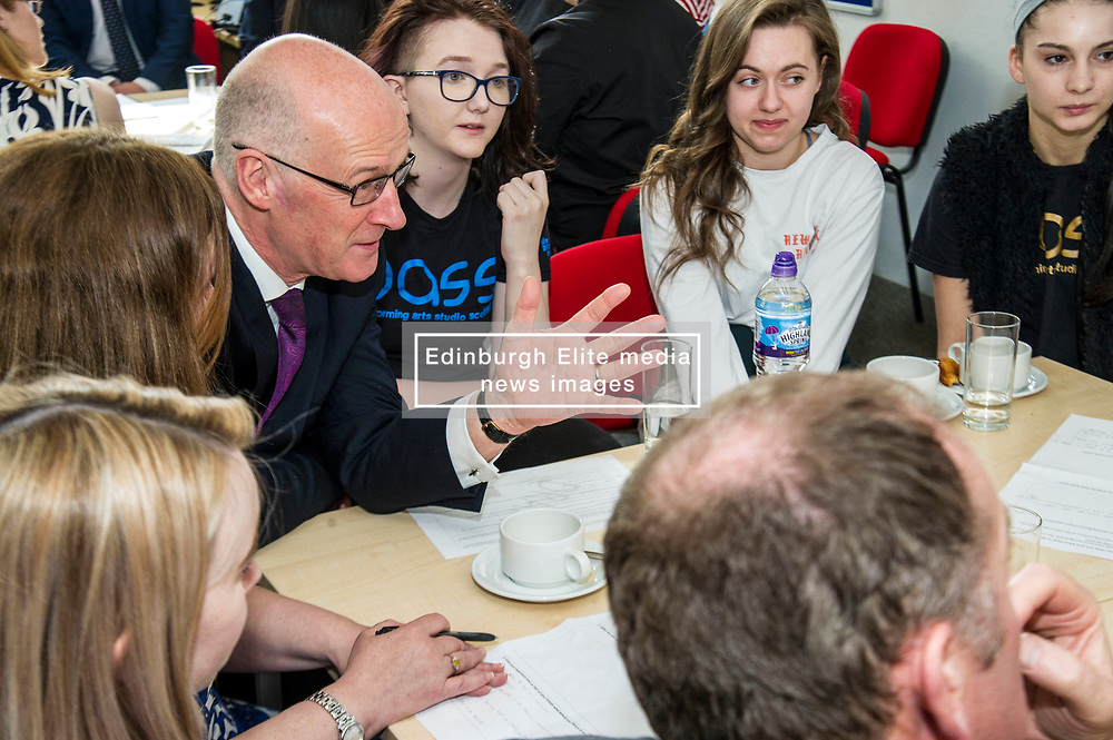 Pictured: John Swinney<br /> Deputy First Minister and Education Secretary John Swinney visited Edinburgh College today and was joned by Employability Minister Jamie Hepburn and Shirley-Anne Somerville, Minister for Further and Higher Education, to launch the Scottish Government's 15-24 Learner Journey Report.<br /> Ministers met with young people and key stakeholders and heard their views and experiences of the learner journey.<br /> <br /> Ger Harley   Edinburgh Elite Media