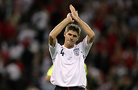 Photo: Rich Eaton.<br /> <br /> England v Russia. UEFA European Championships Qualifying. 12/09/2007. England's Stephen Gerrard applauds the fans after England's 3-0 home victory