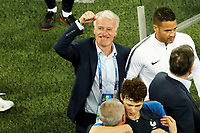 SAINT PETERSBURG, RUSSIA - JULY 10: France national team head coach Didier Deschamps (C) celebrates victory during the 2018 FIFA World Cup Russia Semi Final match between France and Belgium at Saint Petersburg Stadium on July 10, 2018 in Saint Petersburg, Russia. MB Media