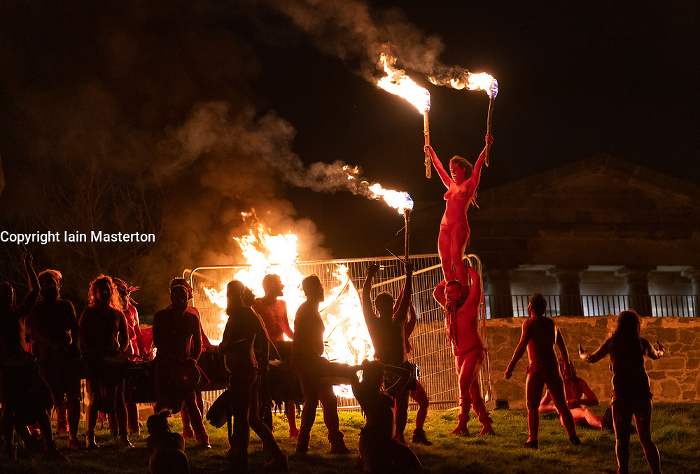 """Edinburgh, Scotland, UK. 30 April, 2019. Beltane Fire Festival ushers in summer on Tuesday 30th April with a spectacular display of fire, immersive theatre, drumming, body paint, and elaborate costumes. Described by some as the """"medieval Burning Man"""", this alternative May Day celebration re-imagines the ancient Celtic festival with roughly 300 volunteer performers for thousands of spectators from all over the world on top of Calton Hill in Edinburgh"""