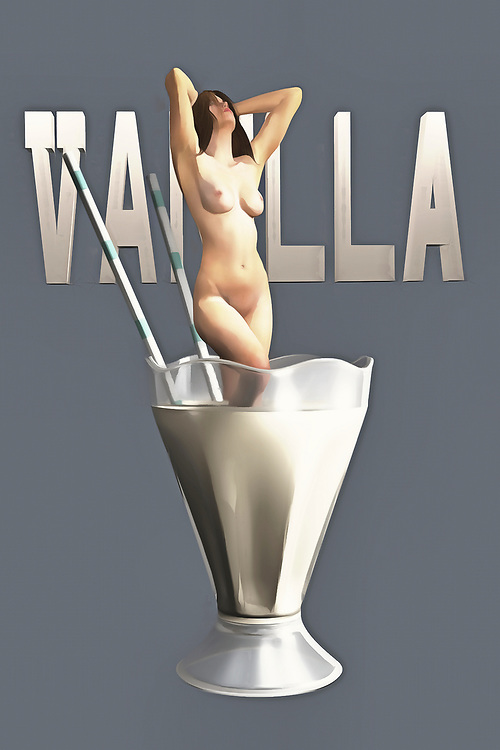 Is the nude woman in this fascinating piece of pop art sinking into the vanilla milkshake? We can't say. Nor can we be certain of what we are actually seeing. Is this a tiny woman in a normal-sized milkshake glass? Is the milkshake glass actually quite massive? No one can say for sure. Yet there is something about this piece that can absolutely captivate your imagination, even as you are not quite certain of what you are looking at. This piece can be enjoyed and installed in a variety of different spaces. You can certainly imagine this piece starting quite a conversation! .<br />