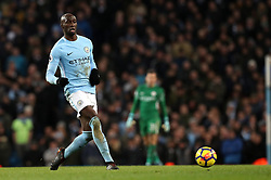 """Manchester City's Eliaquim Mangala during the Premier League match at the Etihad Stadium, Manchester. PRESS ASSOCIATION Photo. Picture date: Sunday December 3, 2017. See PA story SOCCER Man City. Photo credit should read: Martin Rickett/PA Wire. RESTRICTIONS: EDITORIAL USE ONLY No use with unauthorised audio, video, data, fixture lists, club/league logos or """"live"""" services. Online in-match use limited to 75 images, no video emulation. No use in betting, games or single club/league/player publications."""