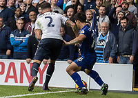 Football - 2016 / 2017 Premier League - Tottenham Hotspur vs. Leicester City<br /> <br /> Shinji Okazaki of Leicester City battles it out iby the corner flag with Kyle Walker of Tottenham at White Hart Lane.<br /> <br /> COLORSPORT/DANIEL BEARHAM