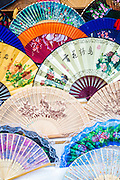 Colorful traditional style Chinese fans.