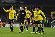 Sunderland players appeal to referee Kevin Friend after the official fails to award them a penalty .Barclays Premier league, Stoke city v Sunderland at the Britannia stadium in Stoke on Trent, England on Saturday 23rd Nov 2013. pic by Andrew Orchard, Andrew Orchard sports photography,