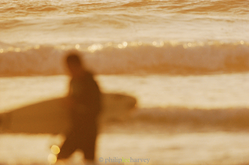 A surfer in the waves of Big Sur, California, USA