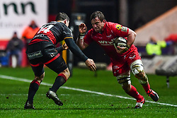 Scarlets' Will Boyde in action during todays match<br /> <br /> Photographer Craig Thomas/Replay Images<br /> <br /> Guinness PRO14 Round 13 - Scarlets v Dragons - Friday 5th January 2018 - Parc Y Scarlets - Llanelli<br /> <br /> World Copyright © Replay Images . All rights reserved. info@replayimages.co.uk - http://replayimages.co.uk